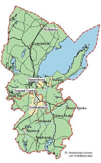 Karta Vanersborg.Industri Och Handelstomter Vanersborgs Kommun